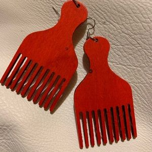 Afro Pick Red Wood Earrings w/Hook Closure NEW!!!